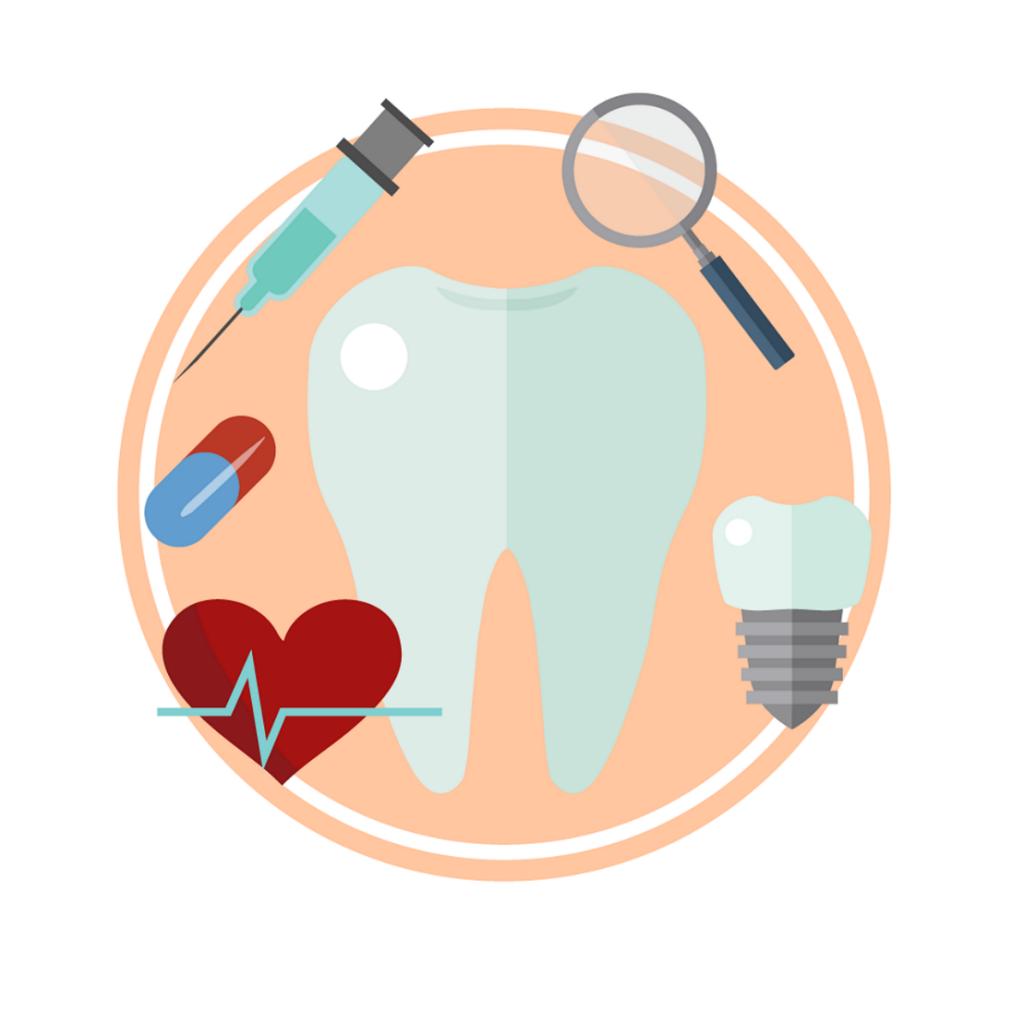 An illustration showing various dental procedures.