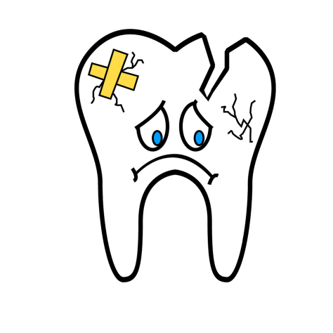 A single, broken tooth with a sad face