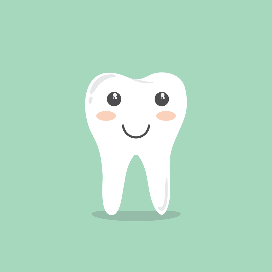 An animated, healthy, smiling tooth