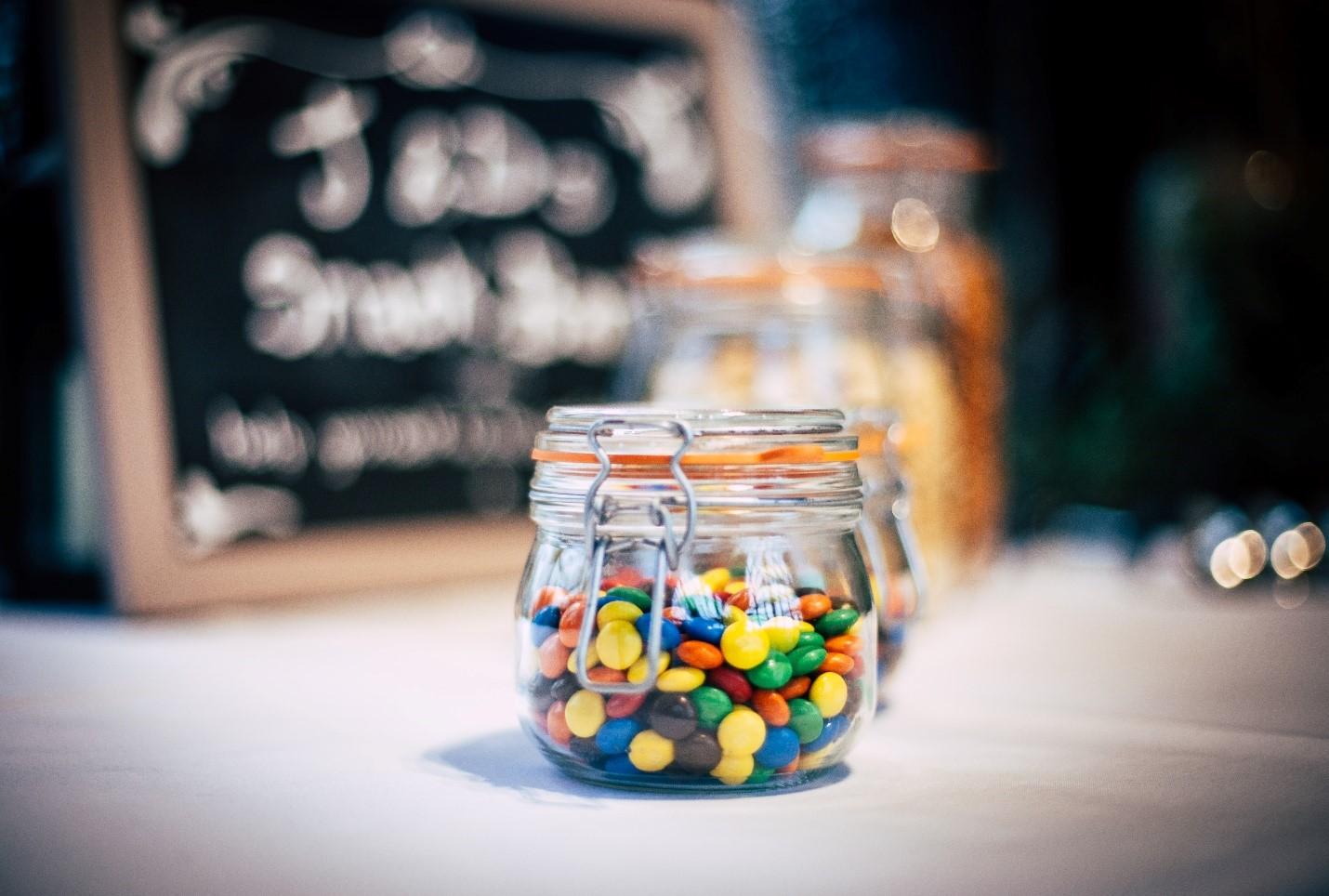 Halloween candies in a jar.