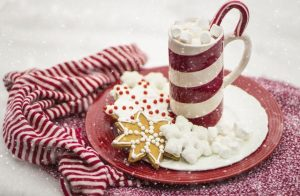candy cane, hot chocolate, and cookies
