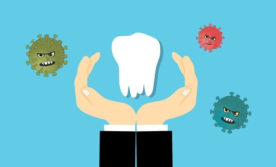 An illustration of a hand protecting the tooth from germs and bacteria.